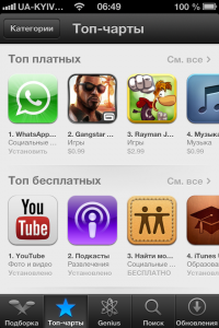 App Store - топ-чарты iOS 6